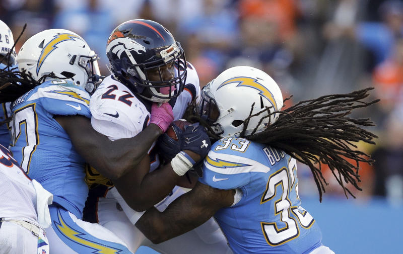 Denver Broncos running back C.J. Anderson is stuffed during the team's first shutout since 1992. (AP)