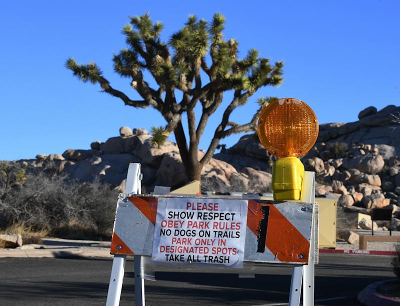 Signs placed by staff at a closed campground in the Joshua Tree National Park after the federal government's partial shutdown caused park rangers to stay home and campgrounds to be shut, at the park in California on January 3, 2019. - US President Donald Trump warned the US federal government may not fully reopen any time soon, as he stood firm on his demand for billions of dollars in funding for a border wall with Mexico. (Photo by Mark RALSTON/AFP/Getty Images)