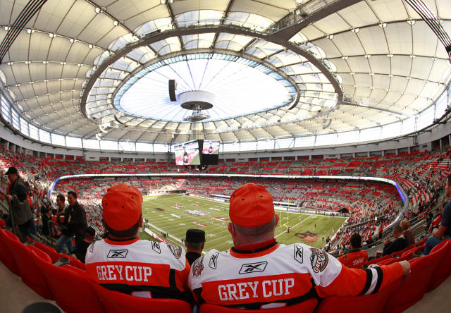 VANCOUVER, CANADA - NOVEMBER 27: Fans settle into their seats prior to the start of the CFL 99th Grey Cup between the BC Lions and the Winnipeg Blue Bombers November 27, 2011 at BC Place in Vancouver, British Columbia, Canada. (Photo by Jeff Vinnick/Getty Images)