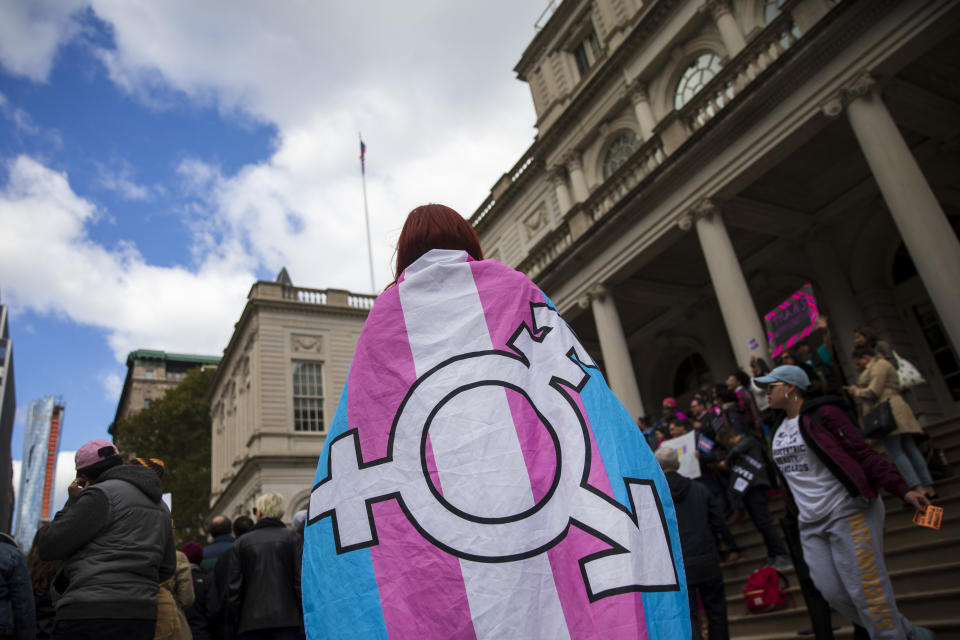 LGBT activists and their supporters rally in support of transgender people on the steps of New York City Hall