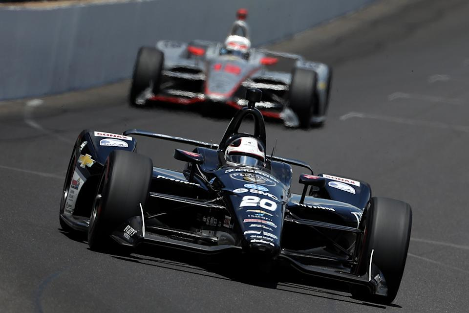 <em>Ed Carpenter led a race-high 65 laps in a second-place finish in the 2018 Indianapolis 500 (Patrick Smith/Getty Images).</em>
