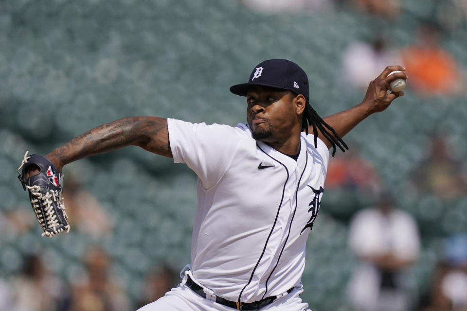 Detroit Tigers relief pitcher Gregory Soto throws during the ninth inning of a baseball game against the Texas Rangers, Thursday, July 22, 2021, in Detroit. (AP Photo/Carlos Osorio)