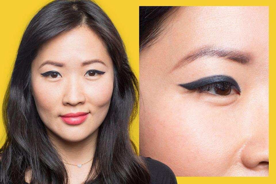 <p>There are so many versions of cat eye makeup, and <strong>monolids</strong> are the perfect canvas to experiment on. </p><p>For this more dramatic style, Lavonne recommends a much thicker line - continue to thicken the original look by adding layer after layer until you reach your desired thickness to cover the lid.</p>
