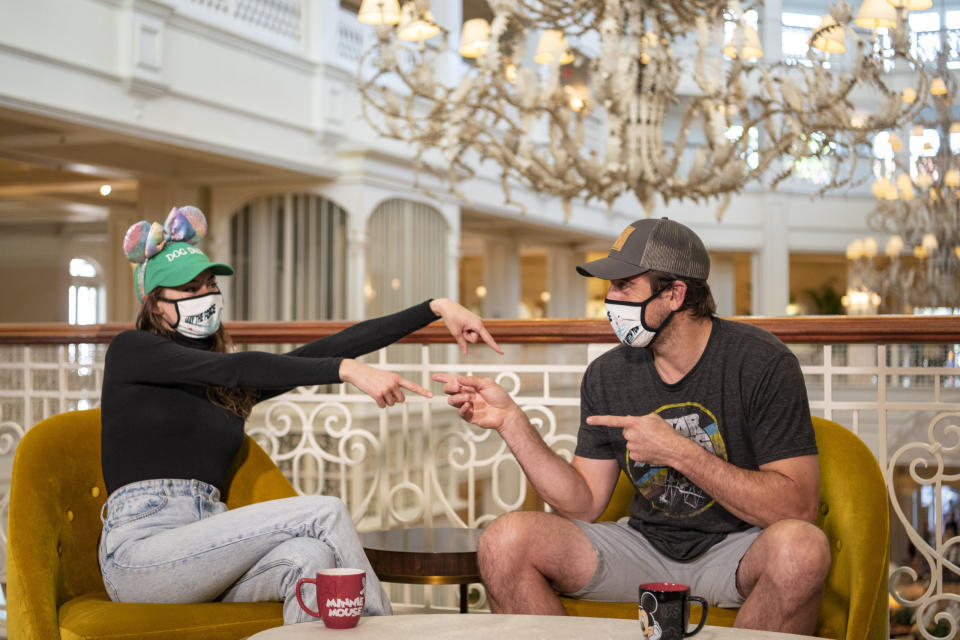 Aaron Rodgers and Shailene Woodley gush over one another during Walt Disney World adventure. (Photo: Matt Stroshane/Disney)