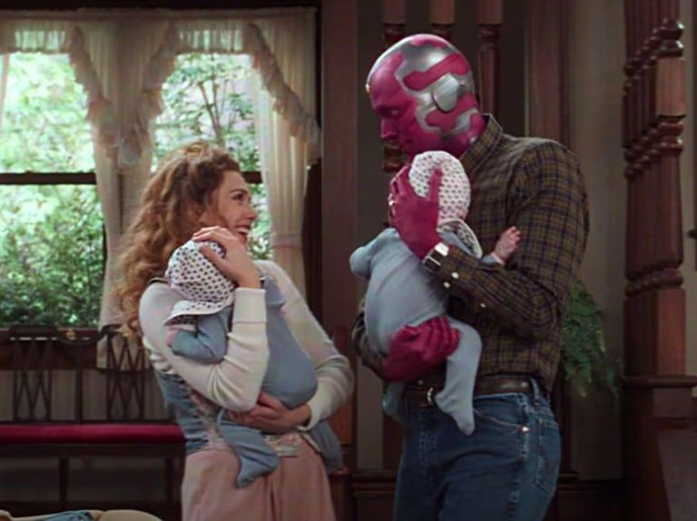 Wanda and Vision holding twins.