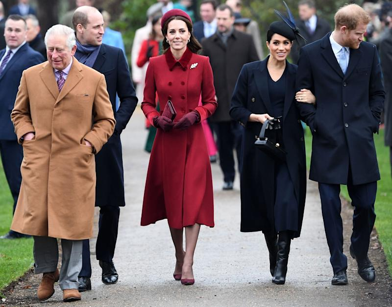 Prince Charles with the Duke and Duchess of Cambridge and the Duke and Duchess of Sussex at the traditional Christmas Day service in Sandringham in 2018 (AFP via Getty Images)