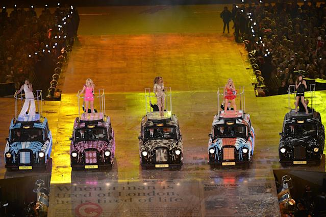 LONDON, ENGLAND - AUGUST 12: Melanie Chisholm, Emma Bunton, Melanie Brown, Geri Halliwell and Victoria Beckham of The Spice Girls perform during the Closing Ceremony on Day 16 of the London 2012 Olympic Games at Olympic Stadium on August 12, 2012 in London, England. (Photo by Stu Forster/Getty Images)