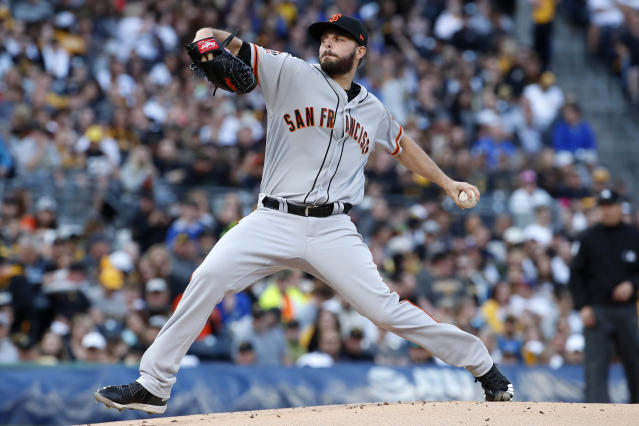 San Francisco Giants starting pitcher Andrew Suarez delivers in the first inning of a baseball game against the Pittsburgh Pirates in Pittsburgh, Friday, May 11, 2018. (AP Photo/Gene J. Puskar)