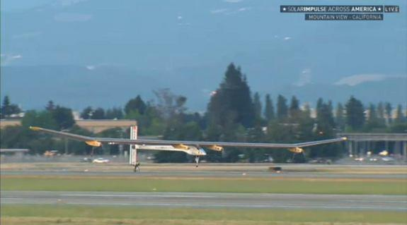 The Swiss-made Solar Impulse airplane takes off from Moffett Airfield near San Francisco, Calif. on May 3, 2013.
