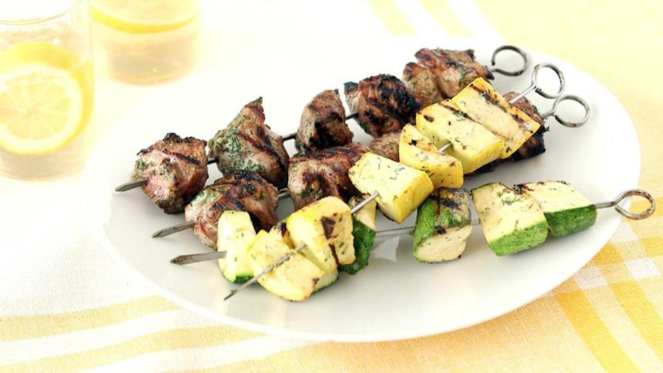 """<p>This light summer dinner comes together in less than one hour—it's just the thing for family dinners or an impressive smoky starter for backyard parties. <a href=""""https://www.marthastewart.com/1003597/zucchini-lamb-and-summer-squash-buttermilk-dill-marinade"""" rel=""""nofollow noopener"""" target=""""_blank"""" data-ylk=""""slk:View recipe"""" class=""""link rapid-noclick-resp""""> View recipe </a></p>"""