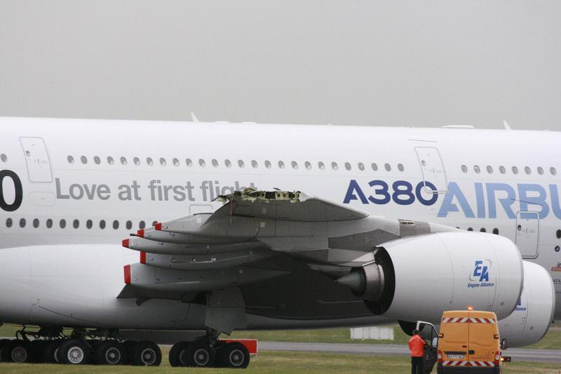 The damaged right wing tip of Airbus A380 is seen on the tarmac on the eve of the opening of the Paris Air Show in Le Bourget