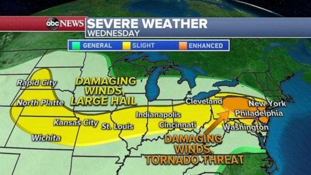 PHOTO: Severe storms will also be possible from Dakotas to Ohio Valley where damaging winds and hail will be the biggest threat. (ABC News)