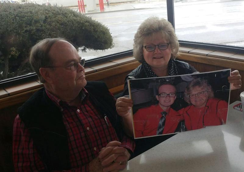 Sindy Gray, 64, sits beside her husband when putting together her grandson's promposal. (Photo courtesy of Kody Leonard)