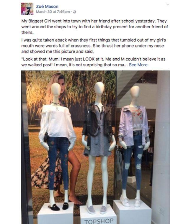 A British mum has spoken out after being made aware of the mannequins by her daughter. Photo: Facebook