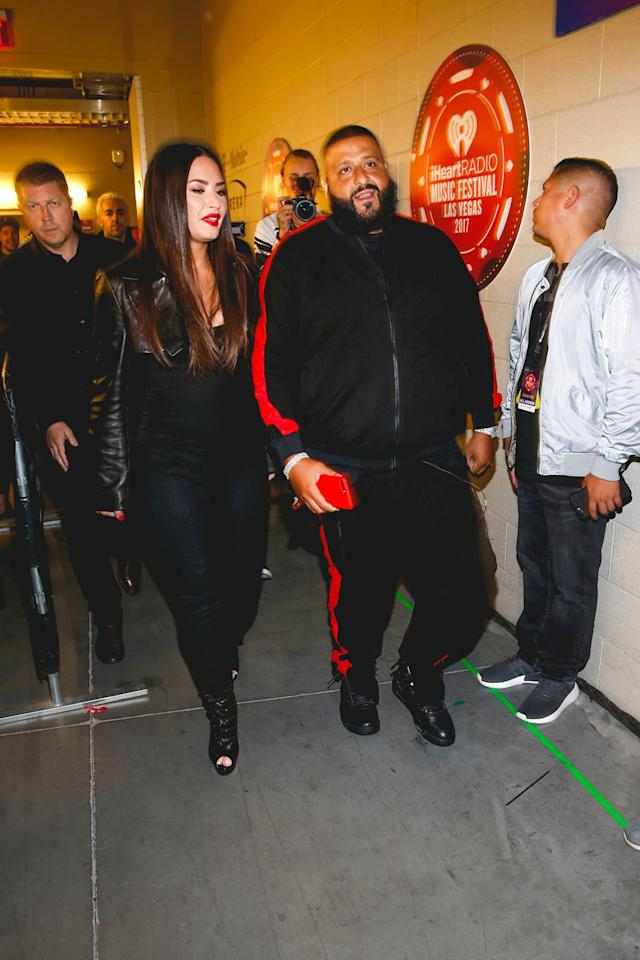 <p>LAS VEGAS, NV – SEPTEMBER 23: Demi Lovato and DJ Khaled attend the 2017 iHeartRadio Music Festival at T-Mobile Arena on September 23, 2017 in Las Vegas, Nevada. (Photo: Getty Images for iHeartRadio) </p>