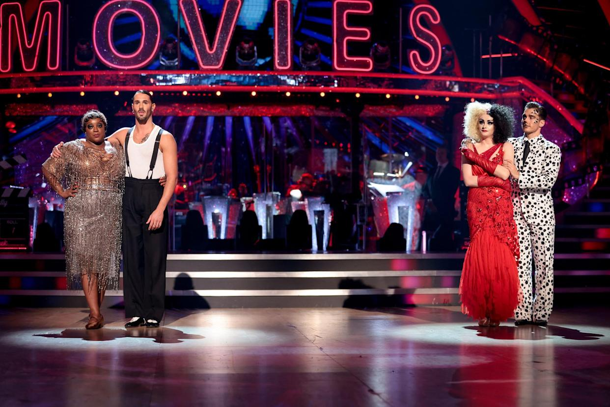 WARNING: Embargoed for publication until 20:00:01 on 09/10/2021 - Programme Name: Strictly Come Dancing 2021 - TX: 10/10/2021 - Episode: Strictly Come Dancing - TX3 RESULTS SHOW (No. n/a) - Picture Shows: **STRICTLY EMBARGOED UNTIL 20:00:01 10/10/2021** Judi Love, Graziano Di Prima, Katie McGlynn, Gorka Marquez - (C) BBC - Photographer: Guy Levy