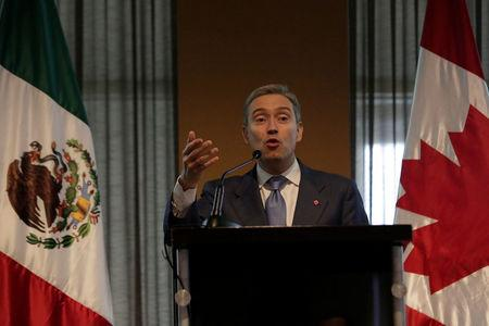 Canada's International Trade Minister Champagne delivers a speech to the members of Canada-Mexico Chamber of Commerce in San Pedro Garza Garcia