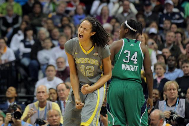 DENVER, CO - APRIL 03: Brittney Griner #42 of the Baylor Bears celebrates late in the second half against the Notre Dame Fighting Irish during the National Final game of the 2012 NCAA Division I Women's Basketball Championship at Pepsi Center on April 3, 2012 in Denver, Colorado. (Photo by Justin Edmonds/Getty Images)