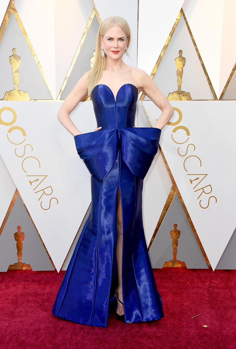 <p>The actress wore a cobalt-hued column gown by Armani Prive for the star-studded ceremony. A pair of Christian Louboutin shoes finished the look. <em>[Photo: Getty]</em> </p>