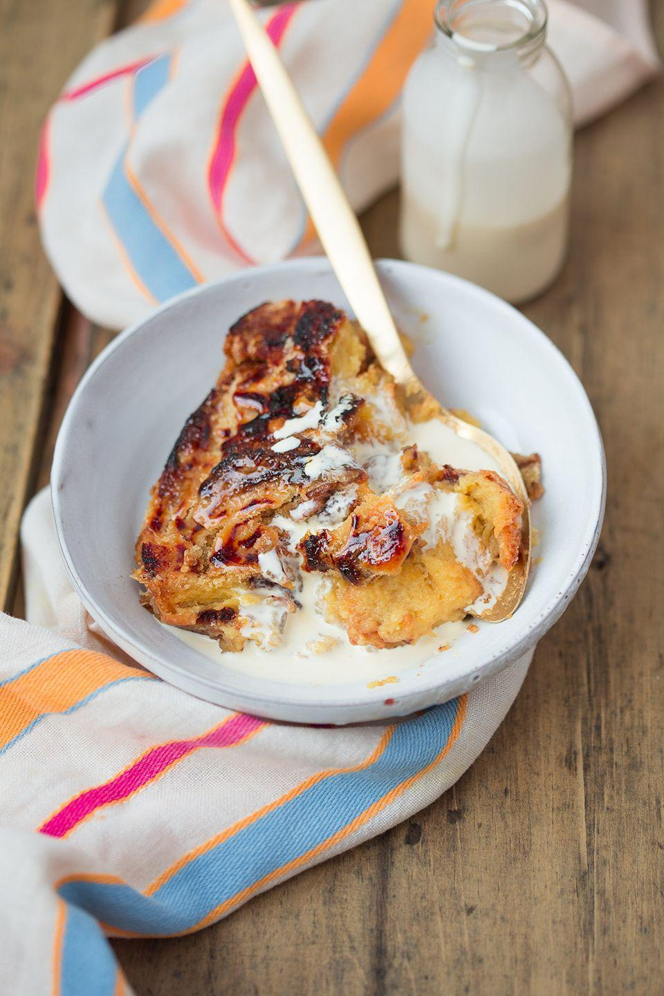 """<p>This traditional Irish dessert brings together homemade vanilla custard and sweet, flaky brioche.</p><p><a href=""""http://thekitchenalchemist.co.uk/recipes/2015/10/31/brioche-bead-and-butter-pud?rq=Bread%20and%20Butter%20Pudding"""" rel=""""nofollow noopener"""" target=""""_blank"""" data-ylk=""""slk:Get the recipe at The Kitchen Alchemist »"""" class=""""link rapid-noclick-resp""""><em>Get the recipe at The Kitchen Alchemist »</em></a></p>"""