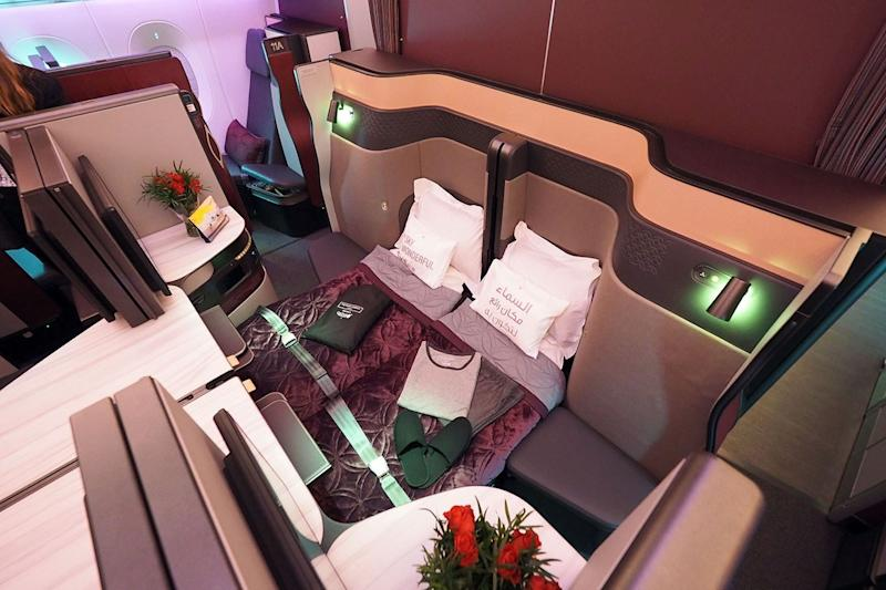 Certain seats in the Qsuite can be converted into double beds