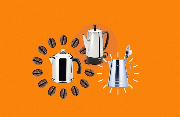 """<p>For people who are new to making their own cup of coffee in the mornings, it can be overwhelming to decide what machine is best for you. You likely don't want to splurge on something high-tech or perhaps you're a coffee veteran that prefers keeping things simple in your kitchen. No matter the case, a coffee percolator might be the right choice for you. Essentially, percolators use a system that continually cycles boiling and hot water through the grounds using gravity. This goes on until the desired strength of the coffee is reached so you get that rich and robust flavor you want. Percolators can be used over the stove, over a campfire, or come in plug-in electric versions. </p><p>Want more coffee advice? These are the <a href=""""https://www.delish.com/kitchen-tools/cookware-reviews/g32811430/best-french-press-coffee-makers/"""" rel=""""nofollow noopener"""" target=""""_blank"""" data-ylk=""""slk:best French press coffee makers"""" class=""""link rapid-noclick-resp"""">best French press coffee makers</a>.</p>"""
