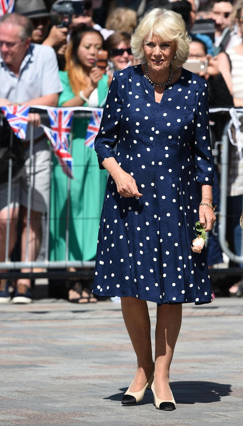 <p>The Duchess of Cornwall has been wearing her two-tone Chanel pumps for more than a decade [Photo: PA] </p>