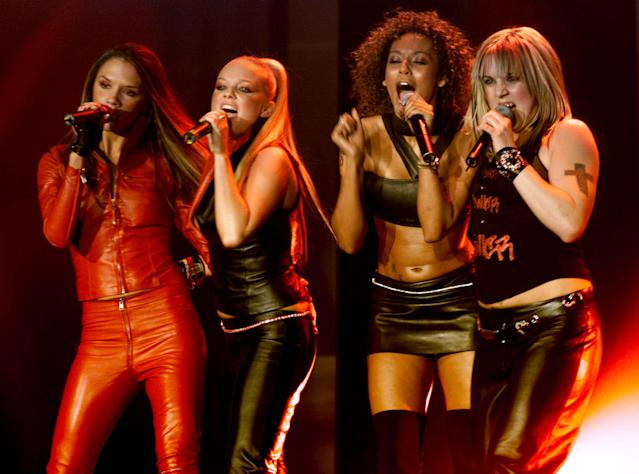 "British pop stars (L-R) Victoria Beckham, Emma Bunton, Mel Brown and ""Mel C"" of the pop group ""Spice Girls"" perform on stage at the Europe MTV Music Awards on November 16, 2000 in Stockholm, Sweden. (Photo by Dave Hogan/Getty Images)"