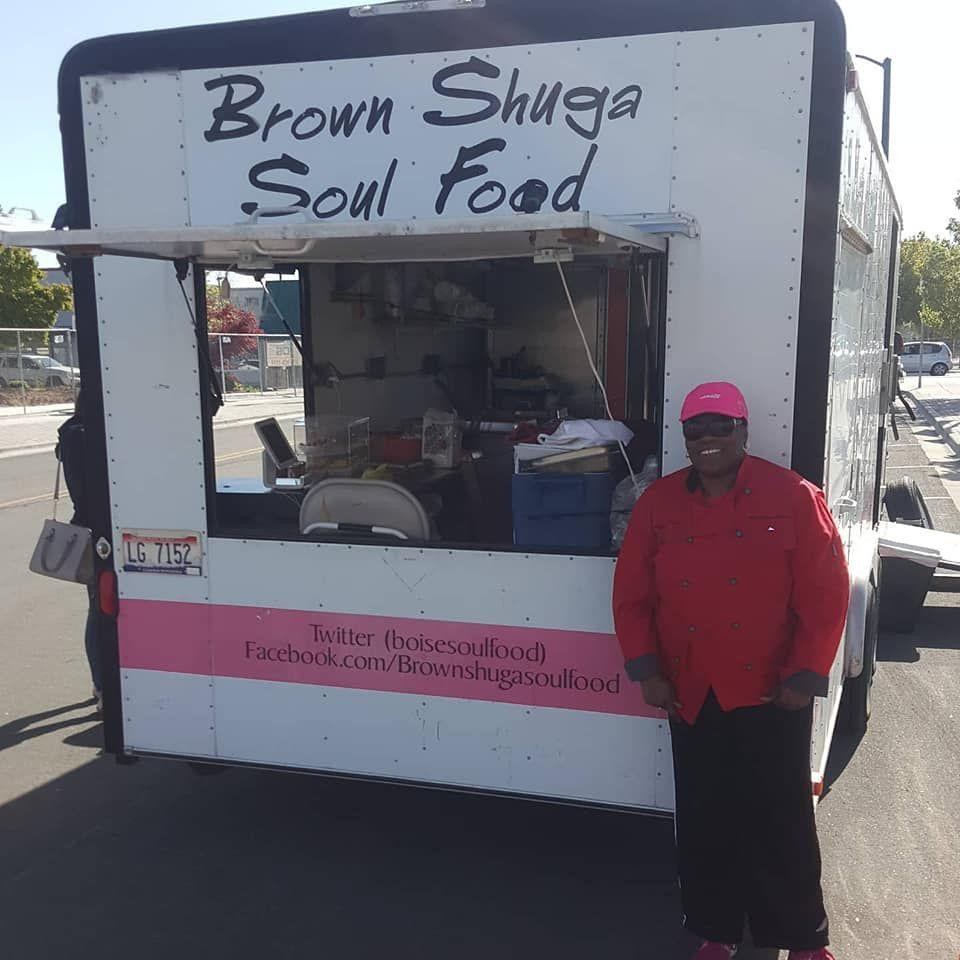 """<p><strong><a href=""""https://www.brownshugasoulfood.com/"""" rel=""""nofollow noopener"""" target=""""_blank"""" data-ylk=""""slk:Brown Shuga Soul Food"""" class=""""link rapid-noclick-resp"""">Brown Shuga Soul Food</a>, Boise </strong></p><p>At this small but super popular family-owned food truck, owner Yvonne Anderson-Thomas sells authentic Southern-style dishes. They also do catering for any of your special events, and have a <a href=""""https://brownshugasoulfood.wixsite.com/suppermembership"""" rel=""""nofollow noopener"""" target=""""_blank"""" data-ylk=""""slk:soul food Sunday membership"""" class=""""link rapid-noclick-resp"""">soul food Sunday membership</a> that brings delicious meals to your home each week.</p>"""