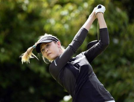Aug 27, 2017; Ottawa, Ontario, CAN; Nelly Korda plays her tee shot from the third tee box during the final round of the Canadian Pacific Women's Open golf tournament at Ottawa Hunt and Golf Club. Mandatory Credit: Eric Bolte-USA TODAY Sports