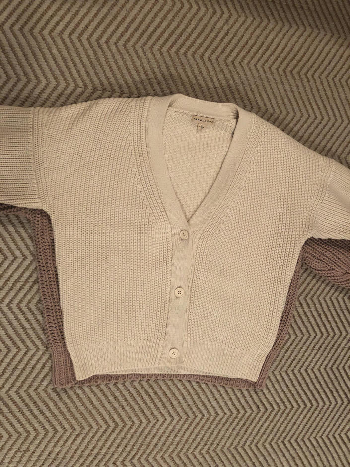 The Tradlands Shelter cardigan is more streamlined than the Babaa no. 18.