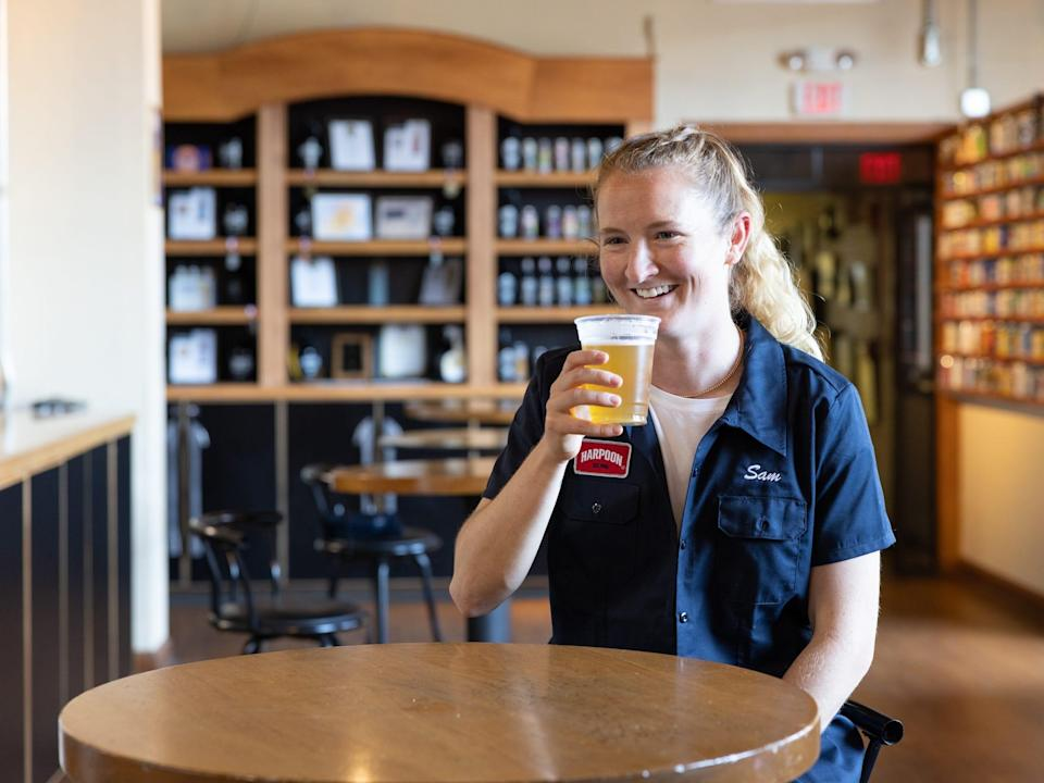 Sam Mewis drinks Mew-S-A Citrus IPA at Harpoon Brewery.