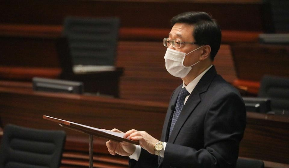 Secretary for Security John Lee addressed lawmakers at Hong Kong's Legislative Council on Wednesday. Photo: May Tse