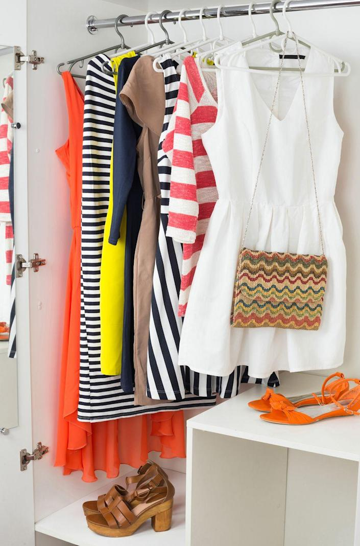 """<p>Take a note from the fashion experts to make your mornings <em>so </em>much easier. """"Take tried-and-true outfits and hang the items together — shirts, pants, and accessories,"""" suggests Stacy London, former host of <em>What Not to Wear</em>. By placing clothes and their coordinating accessories on streamlined velvet hangers, you'll be able to fit more in your closet, no matter the size.</p><p><a class=""""link rapid-noclick-resp"""" href=""""https://www.amazon.com/AmazonBasics-Velvet-Suit-Hangers-50-Pack/dp/B00FXNAAW2?tag=syn-yahoo-20&ascsubtag=%5Bartid%7C10060.g.36311015%5Bsrc%7Cyahoo-us"""" rel=""""nofollow noopener"""" target=""""_blank"""" data-ylk=""""slk:SHOP HANGERS"""">SHOP HANGERS</a></p><p><strong>RELATED:</strong> <a href=""""https://www.goodhousekeeping.com/home/organizing/g2171/diy-closet-organizers/"""" rel=""""nofollow noopener"""" target=""""_blank"""" data-ylk=""""slk:20+ Genius Tips for Your Most Organized Closet Ever"""" class=""""link rapid-noclick-resp"""">20+ Genius Tips for Your Most Organized Closet Ever</a></p>"""