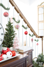 """<p>If you have ornaments to spare after decorating your tree, use them to your benefit elsewhere. Diane Henkler from the <a href=""""https://inmyownstyle.com/christmas-staircase-decorating-on-a-dime.html"""" rel=""""nofollow noopener"""" target=""""_blank"""" data-ylk=""""slk:In My Own Style"""" class=""""link rapid-noclick-resp"""">In My Own Style</a> blog got some garland ties to attach to her staircase and hung ornaments from them for an easy, festive look.</p>"""