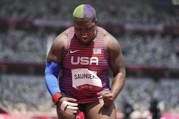 Raven Saunders reacts after a throw in the women's shot put final at the Tokyo Olympics.