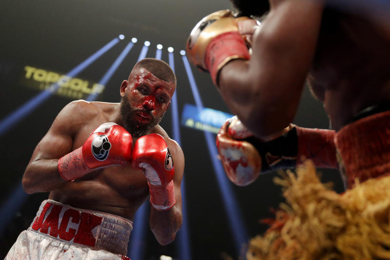 Badou Jack, left, fights Marcus Browne in the WBA interim light heavyweight title boxing bout on Jan. 19, 2019, in Las Vegas. (AP Photo/John Locher)