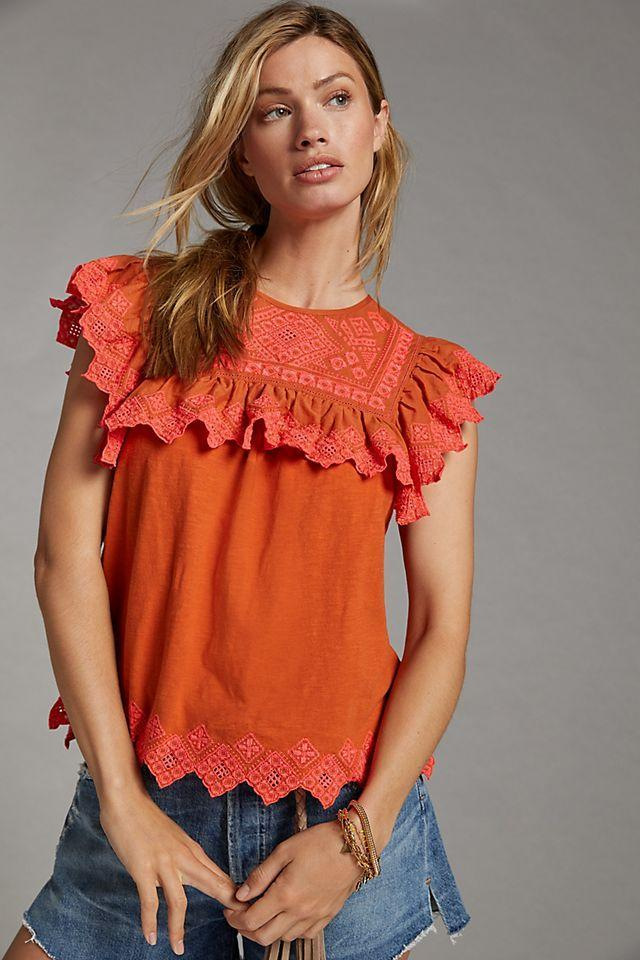 """<br><br><strong>Anthropologie</strong> Rica Embroidered Top, $, available at <a href=""""https://go.skimresources.com/?id=30283X879131&url=https%3A%2F%2Fwww.anthropologie.com%2Fshop%2Frica-embroidered-top"""" rel=""""nofollow noopener"""" target=""""_blank"""" data-ylk=""""slk:Anthropologie"""" class=""""link rapid-noclick-resp"""">Anthropologie</a>"""