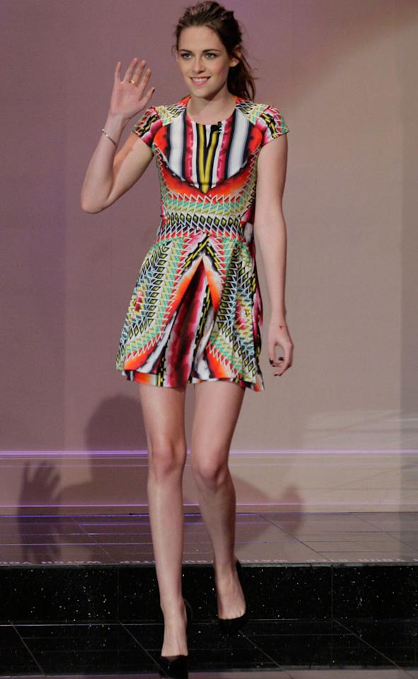 Twilight: Breaking Dawn Part 2: Kristen Stewart went for a multi-coloured Peter Pilotto dress as she appeared on Jay Leno and revealed a surprise twist to the movie. Copyright [Getty]