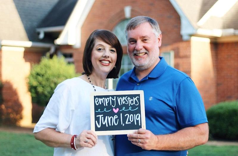 These parents from Mississippi are celebrating their latest milestone of becoming empty nesters. (Photo: Haley Marie Photography)