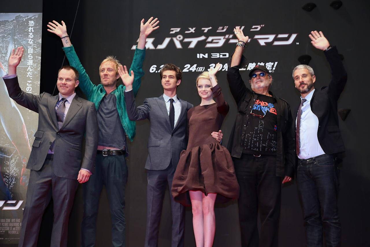 TOKYO, JAPAN - JUNE 13:  (L-R) Director Marc Webb, actors Rhys Ifans, Andrew Garfield, actress Emma Stone, Producers Avi Arad and Matt Tolmach attend the world Premiere of 'The Amazing Spider-Man' at Roppongi Hills on June 13, 2012 in Tokyo, Japan. The film will open on June 30 in Japan.  (Photo by Ken Ishii/Getty Images)