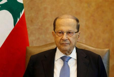 FILE PHOTO: Lebanese President Michel Aoun is seen at the presidential palace in Baabda