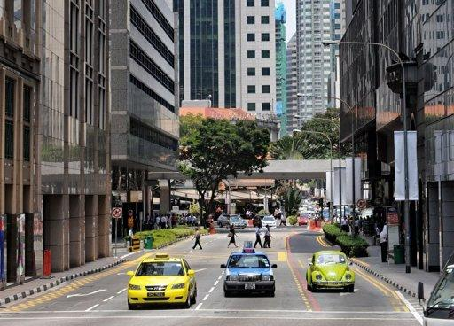 View of a street in Singapore's financial district in 2009