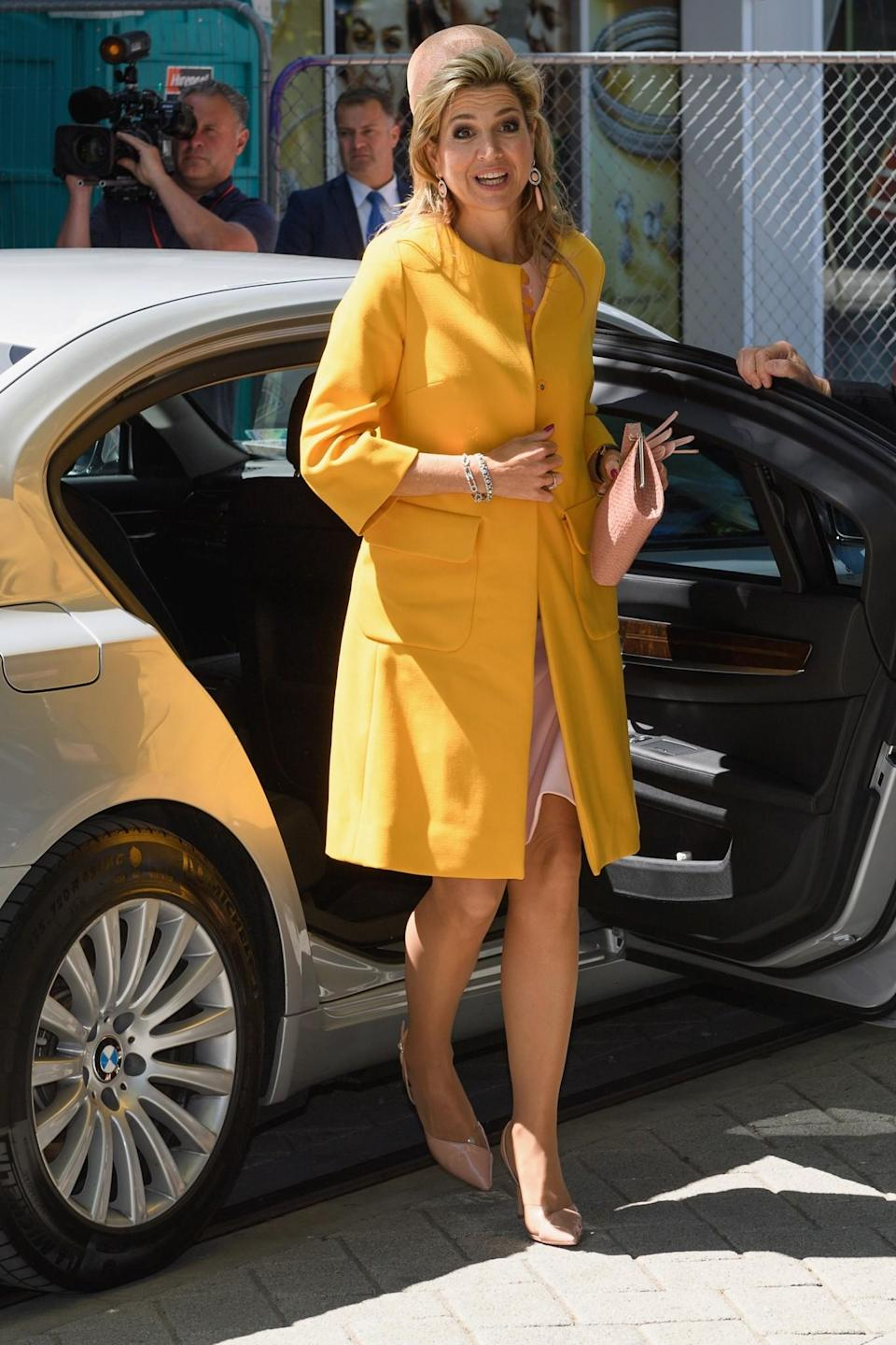 <p>Queen Máxima is one of the funnest royals around. Never playing it safe, she prefers to stick to bright sunny shades and loves pushing the boat out when it comes to accessories. Watch out for her huge dangling earrings and stand-out necklaces. <i>[Photo: Getty]</i> </p>