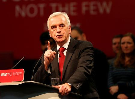 FILE PHOTO: Britain's Shadow Finance Minister John McDonnell speaks at the Labour Party Post-Budget Rally in West Bromwich