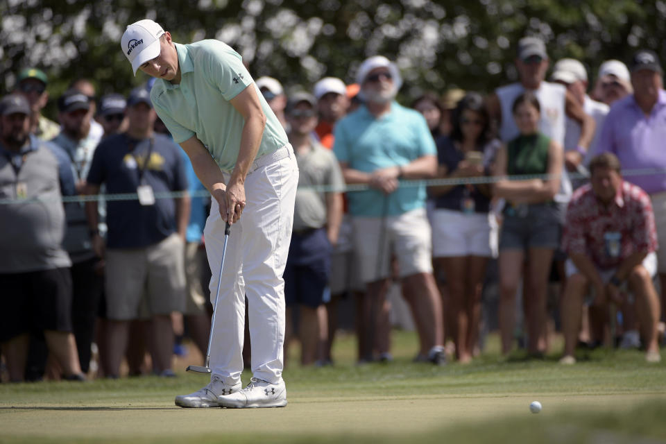 Matthew Fitzpatrick, of England, watches a putt on the first green during the final round of the Arnold Palmer Invitational golf tournament Sunday, March 10, 2019, in Orlando, Fla. (AP Photo/Phelan M. Ebenhack)