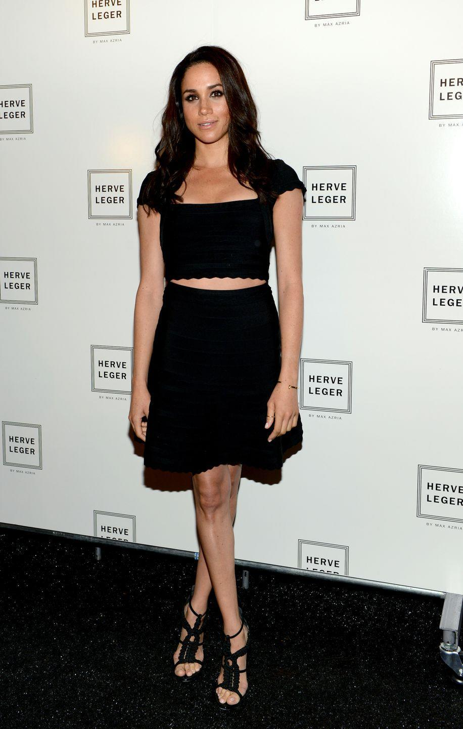 <p>This black Herve Leger dress is a fitting outfit to attend the Herve Leger By Max Azria show during Spring 2014 in September 2013</p>