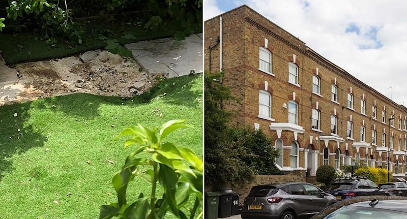 The stowaway's body fell from the plane and caused a crater in a London back garden (Pictures: SWNS)