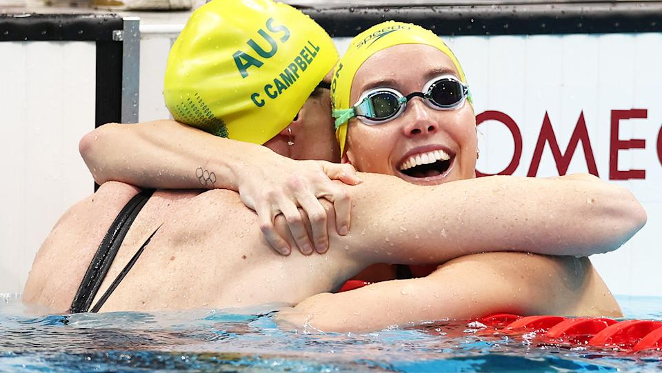 Emma McKeon, pictured here celebrating with Cate Campbell after the 100m freestyle final at the Olympics.