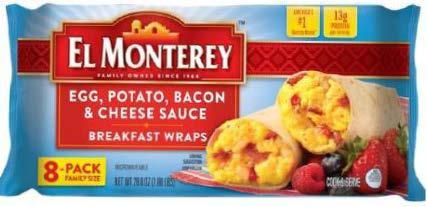 246,000 pounds of El Monterey frozen breakfast wraps recalled, may contain 'small rocks'
